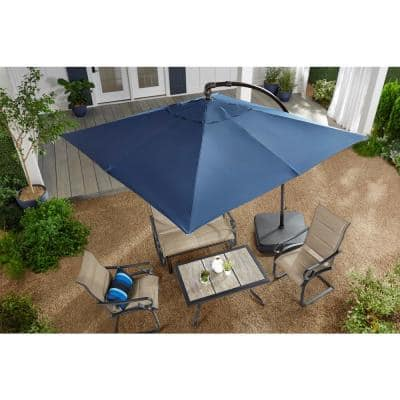 8 ft. Square Aluminum Cantilever Offset Outdoor Patio Umbrella in Midnight Navy Blue