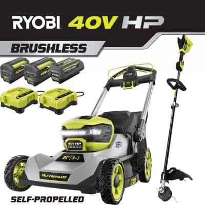 40V HP Lithium-Ion Brushless Cordless Walk Behind Self-Propelled Lawn Mower & Trimmer - (3) Batteries/(2) Rapid Chargers