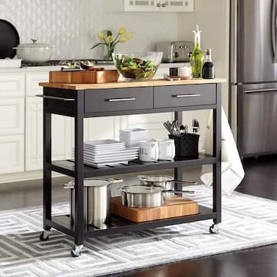 "Glenville Black Open Shelf Kitchen Cart with Butcher Block Top and Locking Wheels (36"" W)"