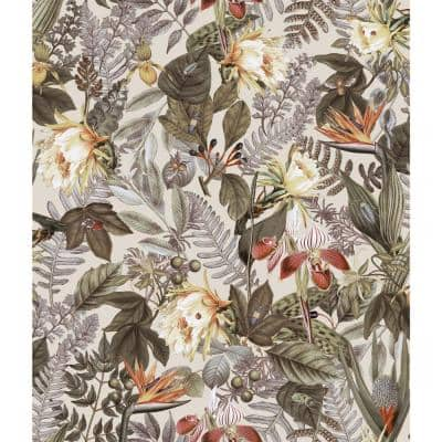 Tropical Flowers Beige Peel and Stick Wallpaper (Covers 28.18 sq. ft.)