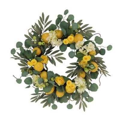 24 in. Artificial Lemon and Hydrangea Floral Spring Wreath