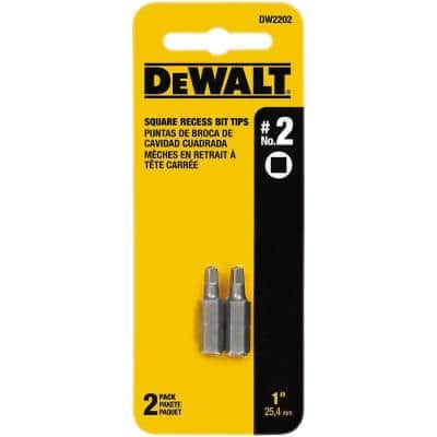 #2 Square 1 in. Recess Insert Bit Tips (2-Pack)