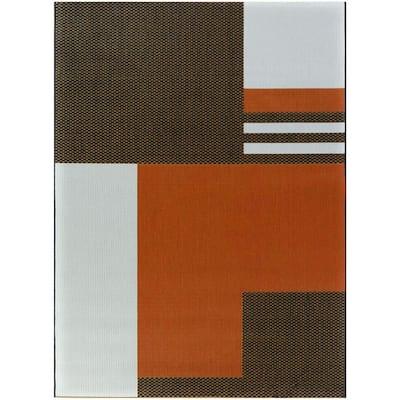 Read Burnt Orange 8 ft. x 10 ft. Modern Indoor/Outdoor Area Rug