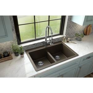 Brown Quartz 33 in. 50/50 Double Bowl Composite Drop-in Kitchen Sink