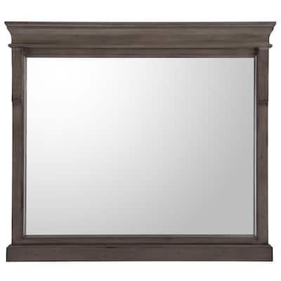 36 in. W x 32 in. H Framed Rectangular Bathroom Vanity Mirror in Distressed Grey