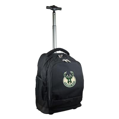 NBA Milwaukee Bucks 19 in. Black Wheeled Premium Backpack