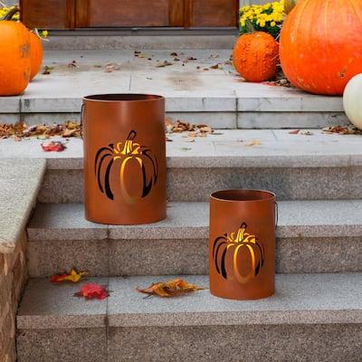 11 in. H Metal Cutout Pumpkin Bucket(Set of 2)