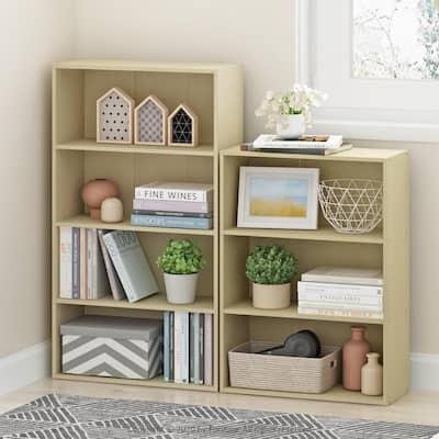 41.7 in. Steam Beech Wood 4-shelf Standard Bookcase with Storage