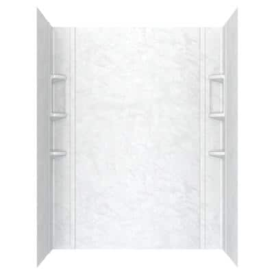 Ovation 32 in. x 60 in. x 72 in. 5-Piece Glue-Up Alcove Shower Wall Set in White Marble