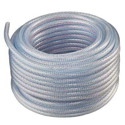 1/2 in. I.D. x 5/8 in. O.D. x 100 ft. Braided Clear Non Toxic, High Pressure, Reinforced PVC Vinyl Tubing