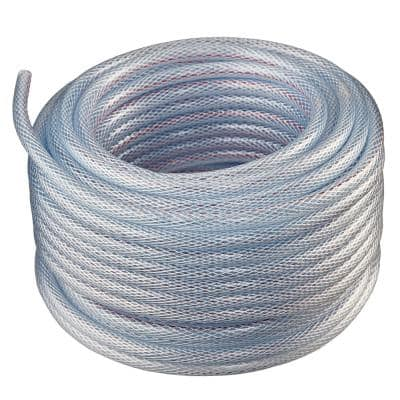 1 in. I.D. x 1 1/4 in. O.D. x 50 ft. Braided Clear Non Toxic, High Pressure, Reinforced PVC Vinyl Tubing