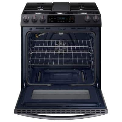 30 in. 6 cu. ft. Slide-In Gas Convection Range Oven in Fingerprint Resistant Black Stainless Steel