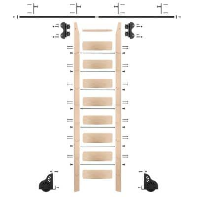 9 ft. Maple Library Ladder (10 ft. Reach) Black Rolling Ladder Kit with 8 ft. Rail and Vertical Brackets