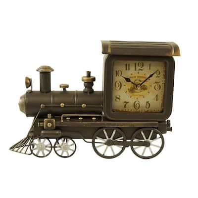 Distress Grey Vintage Metal Train Clock