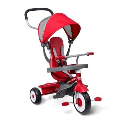 EZ Fold 4-in-1 Stroll 'N Trike Infant Toddler Stroller Tricycle, Red