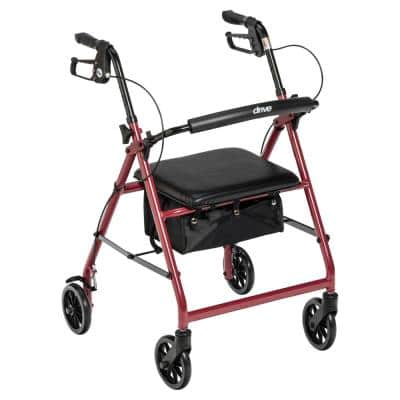 Rollator Rolling Walker with 6 in. Wheels, Fold Up Removable Back Support and Padded Seat, Red