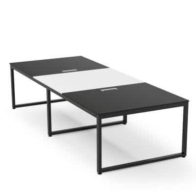 Tribesigns 8 ft. Rectangle Tabletop Black Conference Table 95 in. Large Meeting Seminar Table with Partical Wood