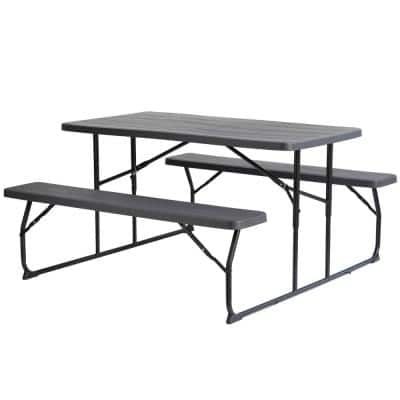 Woodgrain Plastic and Steel Gray Outdoor Foldable Portable Picnic Table Set