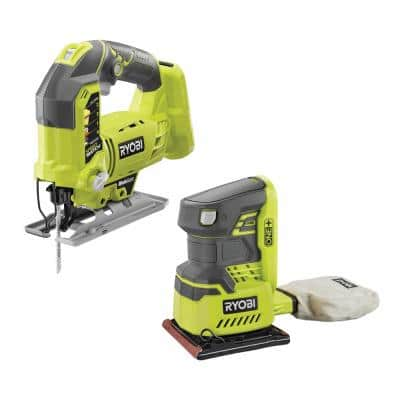 ONE+ 18V Lithium-Ion Cordless Orbital Jig Saw and 1/4 Sheet Sander with Dust Bag (Tools Only)