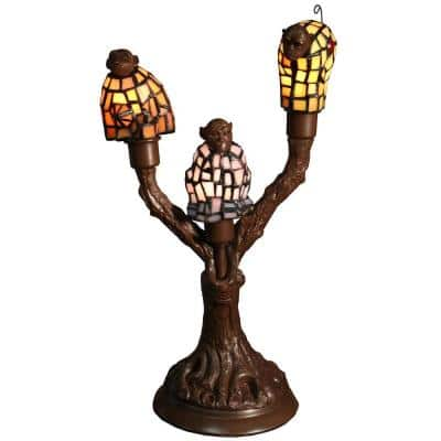 Zendaya 17 in. Tiffany Style Table Lamp 3-light Monkey-shaped with InLine Switch