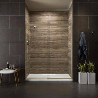 Levity 59 in. x 74 in. Semi-Frameless Sliding Shower Door in Bronze with Handle
