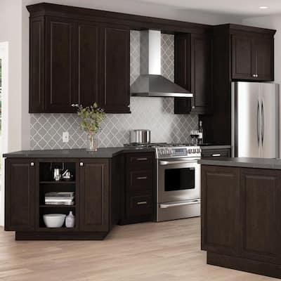 Designer Series Gretna Assembled 30x18x15 in. Deep Wall Bridge Kitchen Cabinet in Espresso