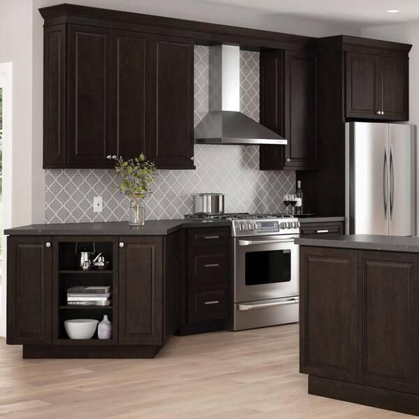 Hampton Bay Designer Series Gretna Assembled 36x42x12 In Wall Kitchen Cabinet In Espresso W3642 Gres The Home Depot