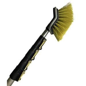 Hard Bristle Deck Brush + 6 ft. to 24 ft. Extension Pole 11 in. Scrub Brush with Telescopic Pole