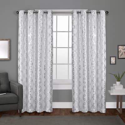 Winter White Trellis Grommet Room Darkening Curtain - 54 in. W x 84 in. L (Set of 2)
