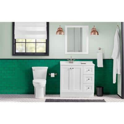 Bannister 36 in. W x 18.75 in. D Bathroom Vanity in White with Colorpoint Vanity Top in White with White Sink and Mirror
