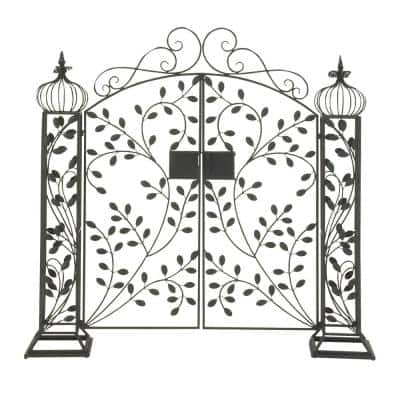 65 in. x 15 in. Black Metal Traditional Garden Gate with Lock Latch Arbor