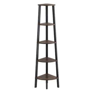 Industrial Style 62.6 in. H Free Standing Brown and Black with 5-Wooden Shelves Iron Bookcase