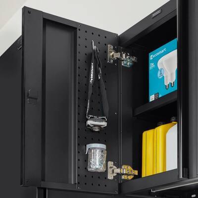 Heavy Duty Welded 20-Gauge Steel Wall Mounted Garage Cabinet in Black (28 in. W x 22 in. H x 14 in. D)