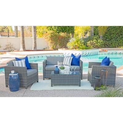 Sienna Gray 4-Piece Wicker Patio Conversation Set with Gray Cushions
