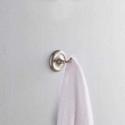 College Circle Double Towel Hook in Brushed Nickel