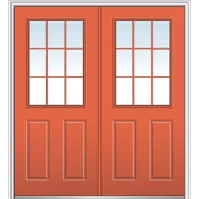 72 in. x 80 in. Clear 1/2 Lite 2-Panel 9-Lite Right-Hand Classic Painted Fiberglass Smooth Prehung Front Door