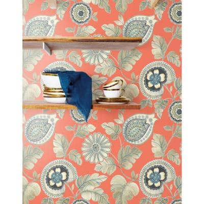 Calypso Paisley Leaf Coral and Aloe Botanical Paper Strippable Roll (Covers 60.75 sq. ft.)