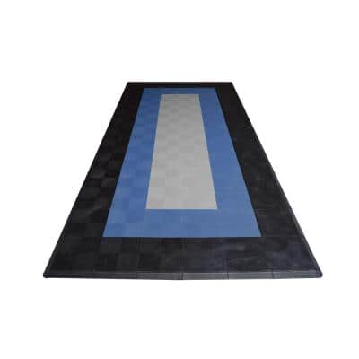 8.3 ft. x 17.5 ft. Silver with Black and Blue Borders Ribtrax Smooth ECO Single Car Pad Kit