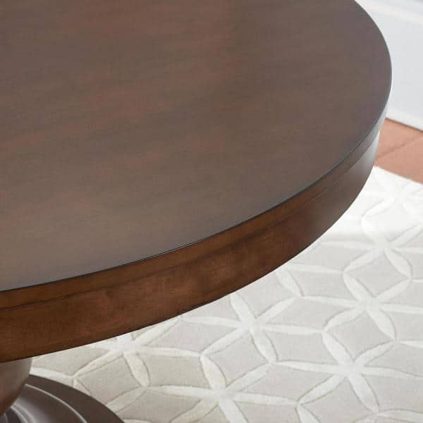 Home Decorators Collection Greymont Walnut Finish Round Pedestal Dining Table For 6 47 64 L X 29 75 In H T 11 The Home Depot