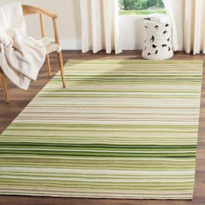 Marbella Green 8 ft. x 10 ft. Solid Striped Area Rug