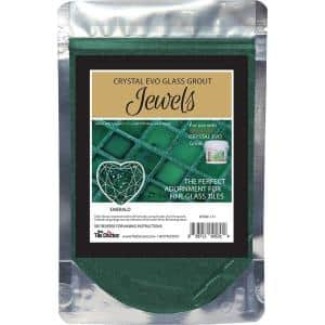 Crystal Glass Grout Jewels Emerald 75 grams (1-Pack)