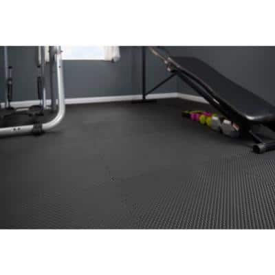 Black/Gray 24 in. x 24 in. x 0.47 in. Dual Sided Gym Floor (4-Pack)
