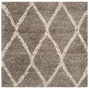 Hudson Shag Gray/Ivory 5 ft. x 5 ft. Square Diamonds Geometric Area Rug