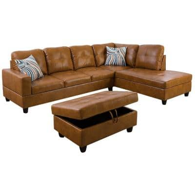 Living-3-Piece-Brown-Faux Leather-6 Seats-L-Shaped-Right Facing-Sectionals