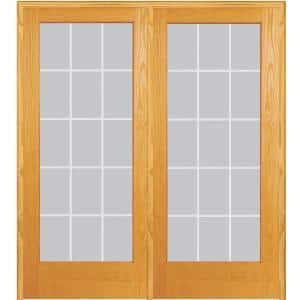 72 in. x 80 in. Left Hand Active Unfinished Pine Glass 15-Lite Clear V-Groove Prehung Interior French Door
