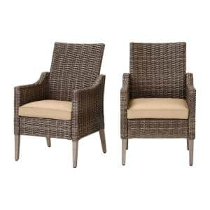 Rock Cliff Brown Wicker Outdoor Patio Stationary Dining Chair with Sunbrella Beige Tan Cushions (2-Pack)