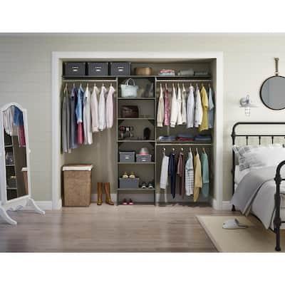 Style+ 84 in. W - 120 in. W Coastal Teak Wood Closet System