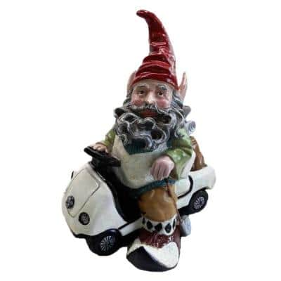 12 in. Golfer Gnome Riding in His Golf Cart Collectible Statue