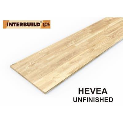 Unfinished Hevea 7 ft. L x 24 in. D x 1 in. T Butcher Block Countertop