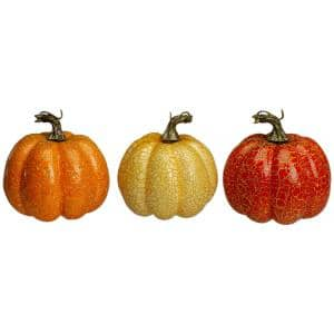 5 in. Orange and Cream Artificial Fall Harvest Pumpkins (Set of 3)
